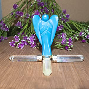 Clear Quartz 4 Point Energy Generator 2 Inch Turquoise Angel Reiki Healing Aura Cleansing Home Decor Gift Vastu Good Luck Chakra Balancing 4.5-5 Inch
