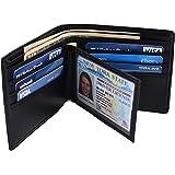 Hopsooken RFID Leather Bifold Wallets Women Men Flipout Slim ID Wallet Trifold