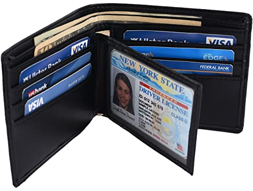 9cb8745ad1da Hopsooken RFID Leather Bifold Wallets Women Men Flipout Slim ID Wallet  Trifold