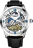 Stührling Original Reloj automático para hombre, esfera de reloj esqueleto, doble hora, AM/PM Sun Moon, correa de piel…
