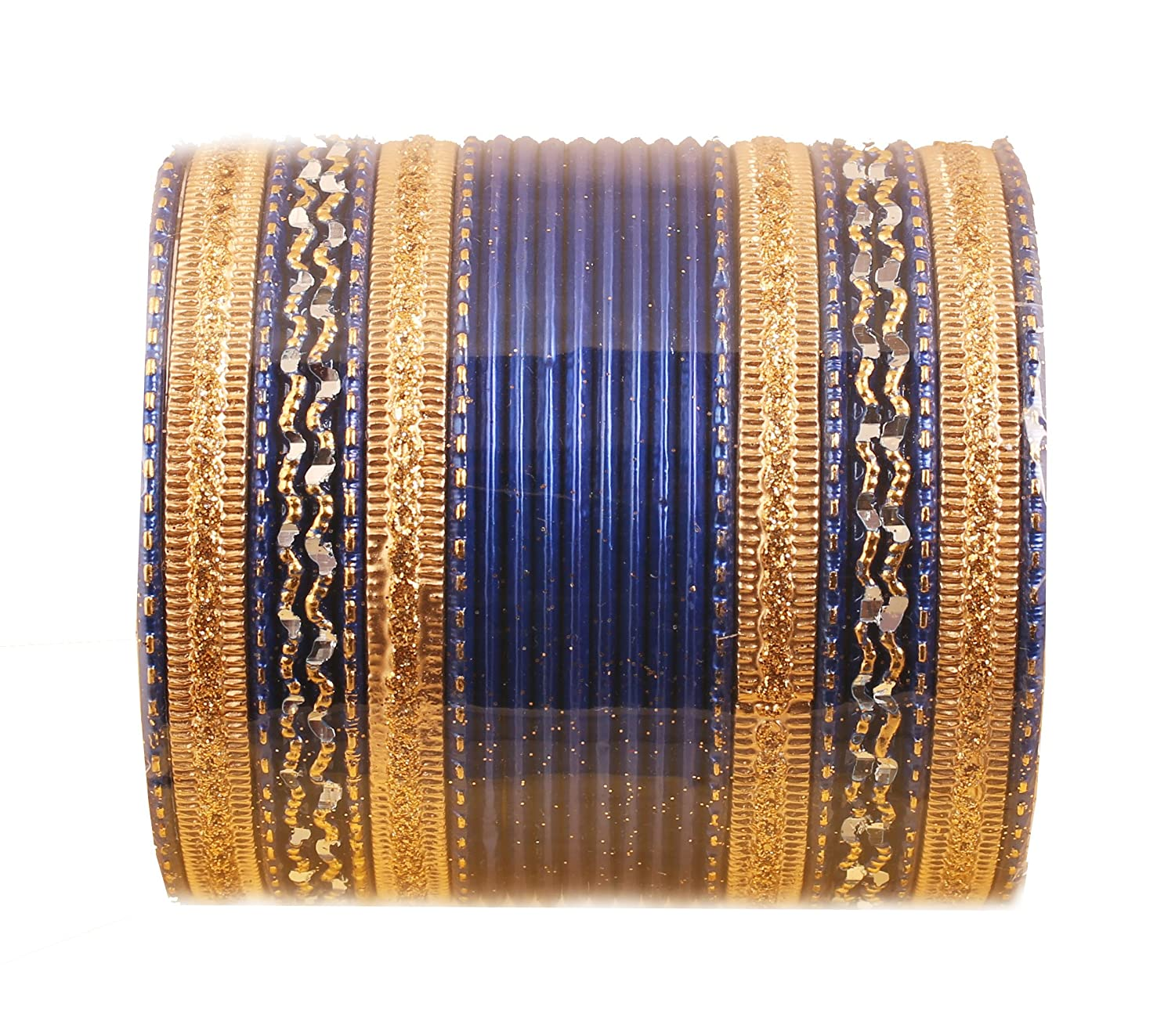 Touchstone New Colorful 2 Dozen Bangle Collection Indian Bollywood Alloy Metal Textured Designer Jewelry Special Large Size Bangle Bracelets Set of 24 in Antique Gold Tone for Women KRB--172F08----