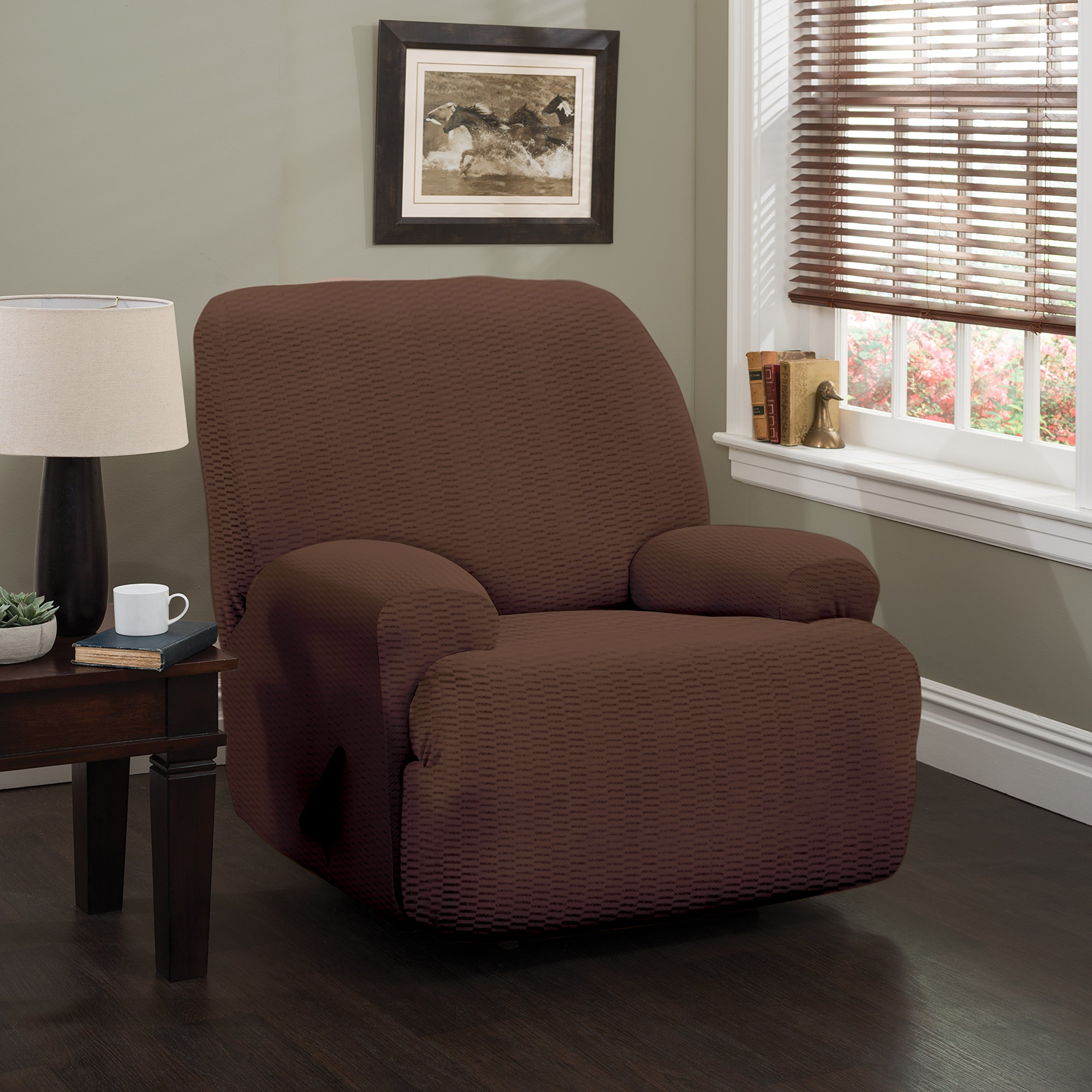 Stretch Sensations 9146JRECA Raise The Bar Jumbo Recliner Slipcover, Brown by Stretch Sensations