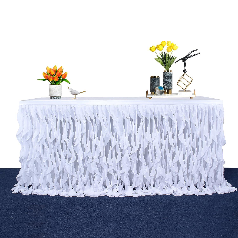 Amazon Com Leegleri 9ft White Curly Willow Table Skirt Tulle Table