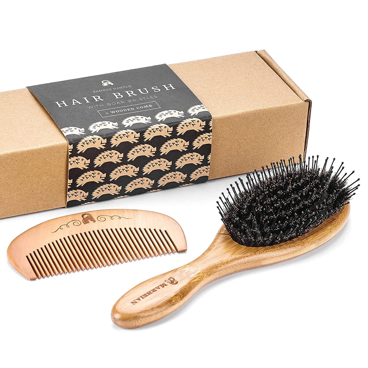 Boar Bristle Hair Brush with Detangle Pins, Included Wooden Comb for Hair Detangling, Natural Boar Bristles Make Hair Shiny and Silky, Set Comes in an Eco-Friendly Box Marbeian