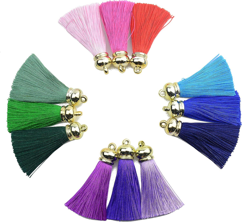 45mm tassel charm,Turquoise blue silk tassel pendant,20 silky tassels,earring tassel,keychain tassel,bracelet tassel,necklace tassel--VC3787