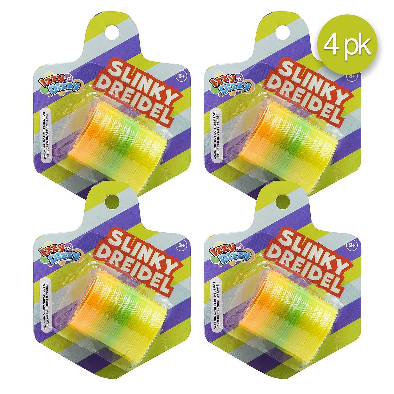 Assorted Colors Izzy /'n/' Dizzy 4 Pack Games Hanukkah Toys Izzy /'n/' Dizzy Dreidel Shaped Slinkky