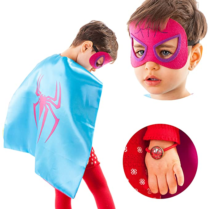 4c47424a8 Amazon.com: Dropplex Superhero Costumes for Kids - 4 Capes and Masks - Glow Wonder  Woman Logo Toys for Boys and Girls - Birthday Gifts and Party Supplies ...