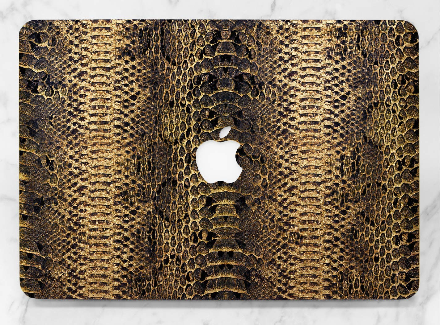 Snake Skin Design Gold Rose Gold Hard Plastic Glitter Case Cover For Apple Macbook Air 11 13 Macbook 12 Macbook Pro 13 15 Inch 2016 2017 2018 With Retina Display Touch Bar