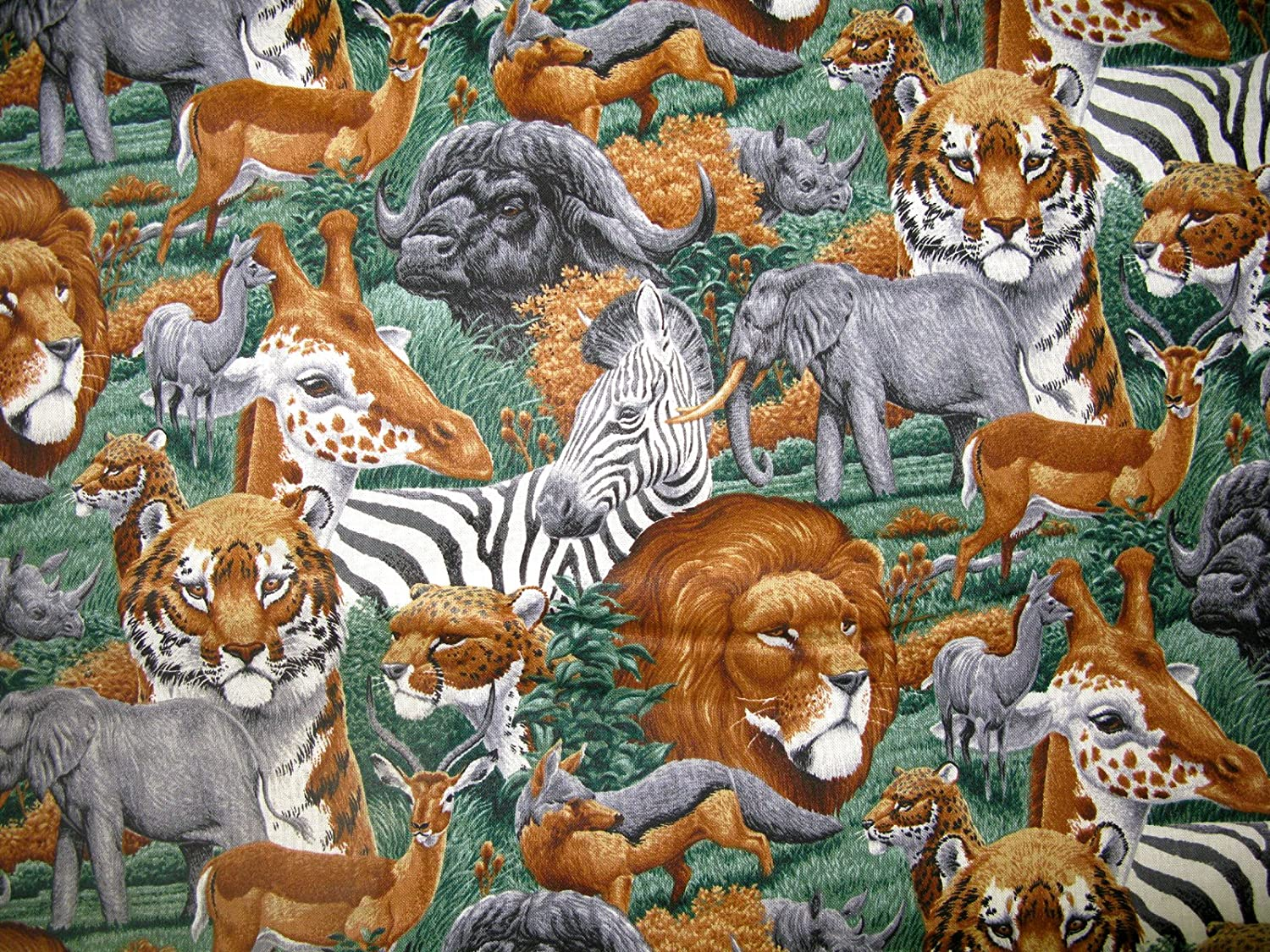 Wild Animals Vinyl Lined Waterproof Fabric 1yd by 44 in Wide Safari Print Cotton Material Lined on Underside for Sewing Projects Like Tablecloths, Tablecovers, Aprons - Top Rated Quality