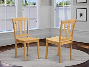 East West Furniture DLC-Oak-W Dining Room Chair Set with Wood Seat, Set of 2