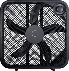 "Genesis 20"" Box Fan, 3 Settings Silent Cooling Technology, Carry Handle, 20 inch, Black"