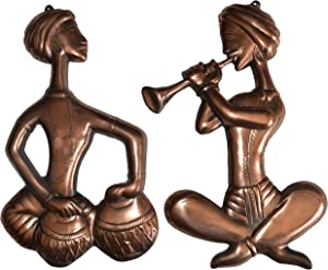 Copper Metal Made Rajasthani Musician Set / Perfect Wall Décor Item / Home Décor Indian Handicrafts