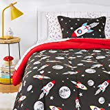 Amazon Basics Kids Easy-Wash Microfiber Bed-in-a-Bag Bedding Set - Twin, Space Rockets
