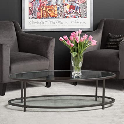 Amazoncom Studio Designs Home Camber Modern Oval Coffee - Pewter glass coffee table