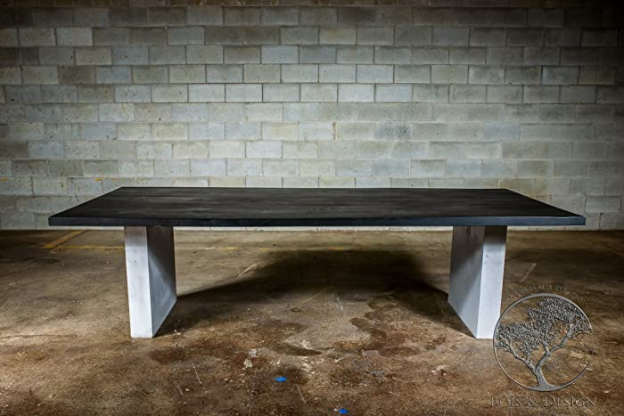Wondrous Amazon Com Black Stained Ash Dining Table On Concrete Handmade Download Free Architecture Designs Rallybritishbridgeorg