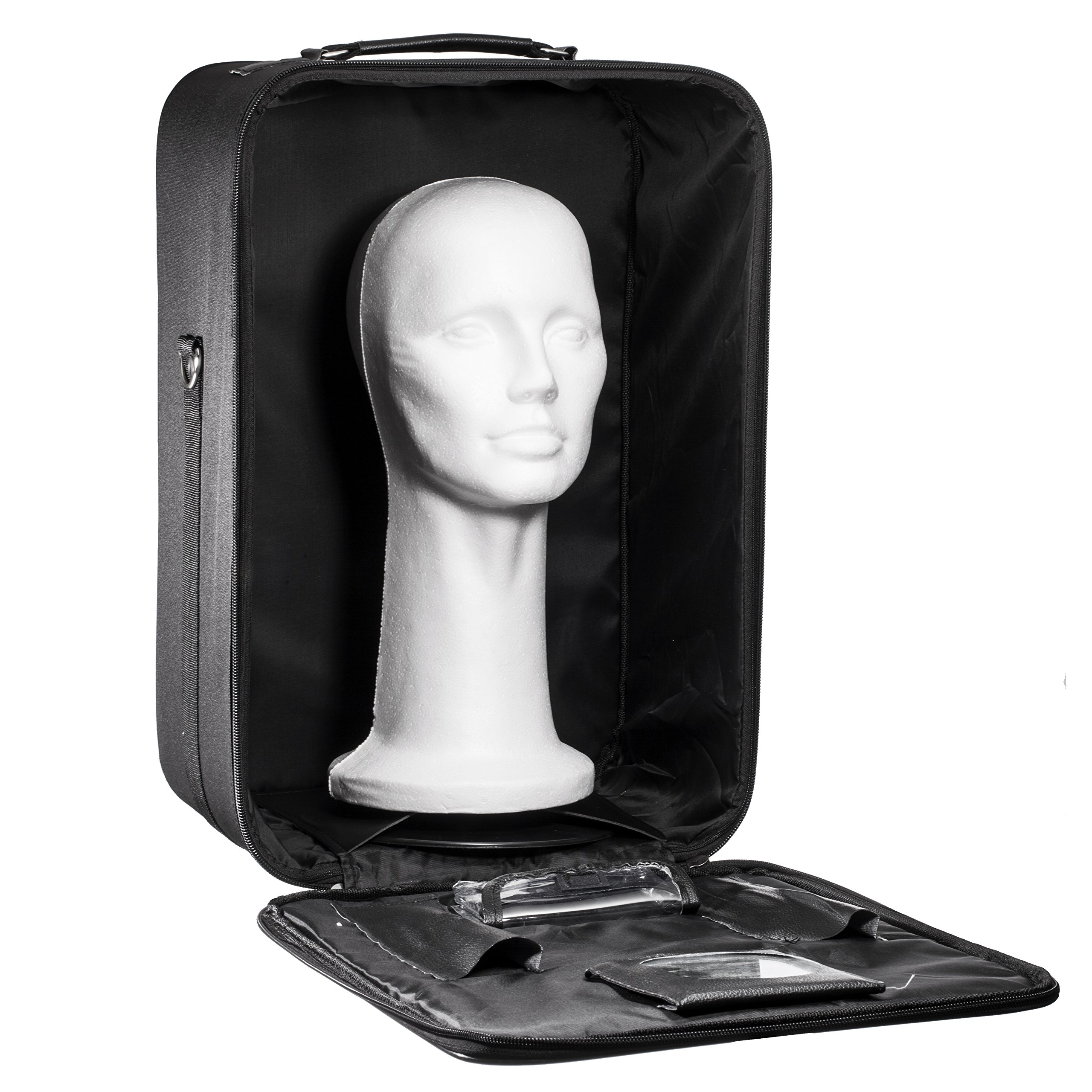 Travel Wig Case Combo Kit - 18'' Breathable Canvas Box with Carrying Handles and Shoulder Straps Plus 15'' Styrofoam Manikin Head - By Dini Wigs