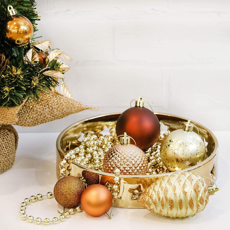 Valery Madelyn 100 Piezas Bolas de Navidad de 3-8cm, Adornos  (Cobre Dorado) 6