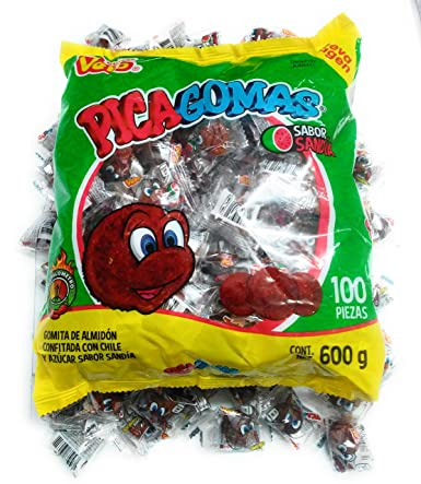 Dulces Vero Pica Fresa Chili Strawberry Flavor Gummy Mexican Candy, 100Piece, 1 LB, 5.15 OZ, Clear