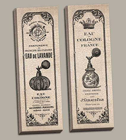 2 Vintage francés Perfume Colonia botella Hotel paneles; Cama y baño decoración