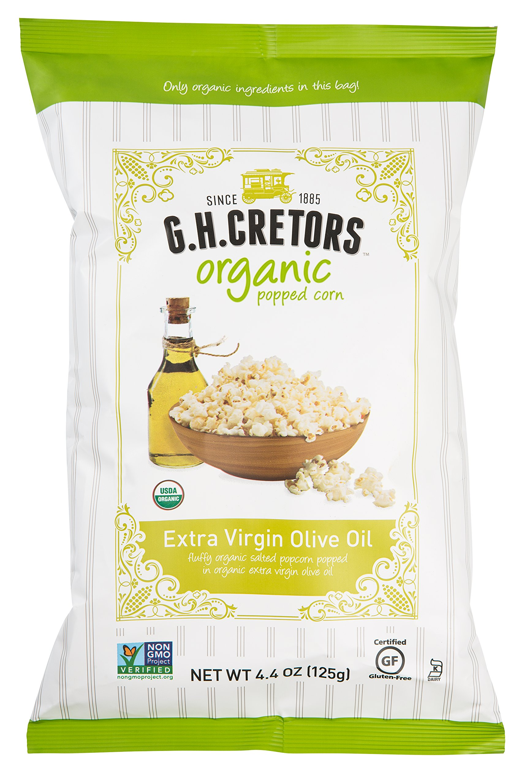 G.H. Cretors Popcorn, Organic Popcorn Extra Virgin Olive Oil, 4.4-Ounce Bags (Pack of 12) by G.H. Cretors