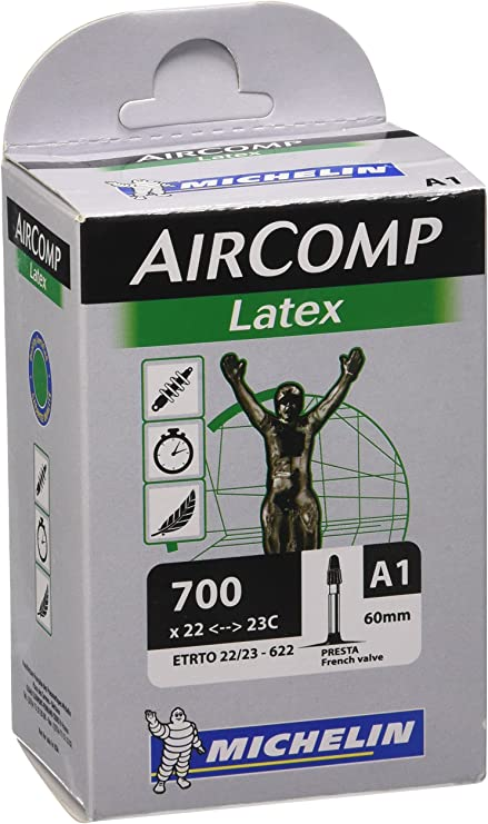 Michelin AirComp A1 LATEX Road Bike Inner Tube 700c x 22-23 Presta 60mm
