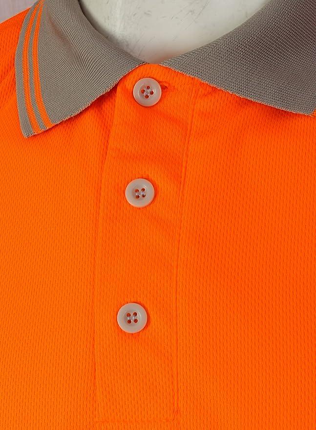 cinta reflectante de seguridad 2 tonos transpirable bot/ón de seguridad talla grande ligero doble cinta HuntaDeal Hi Viz VIS ropa de trabajo EN ISO 20471 Polo de alta visibilidad