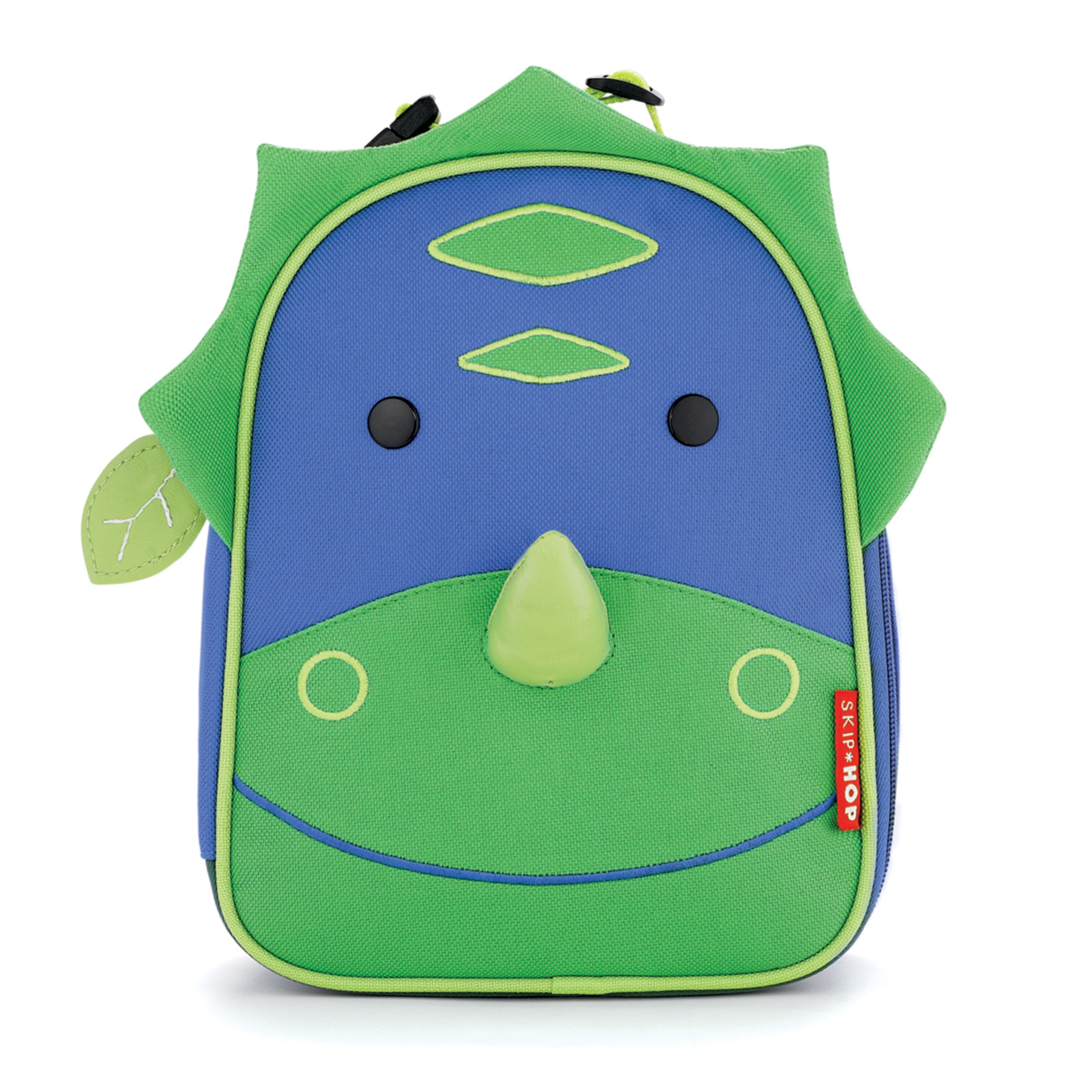 Skip Hop Zoo Kids Insulated Lunch Box, Dakota Dinosaur, 9''x3.25''x7.5'', Green