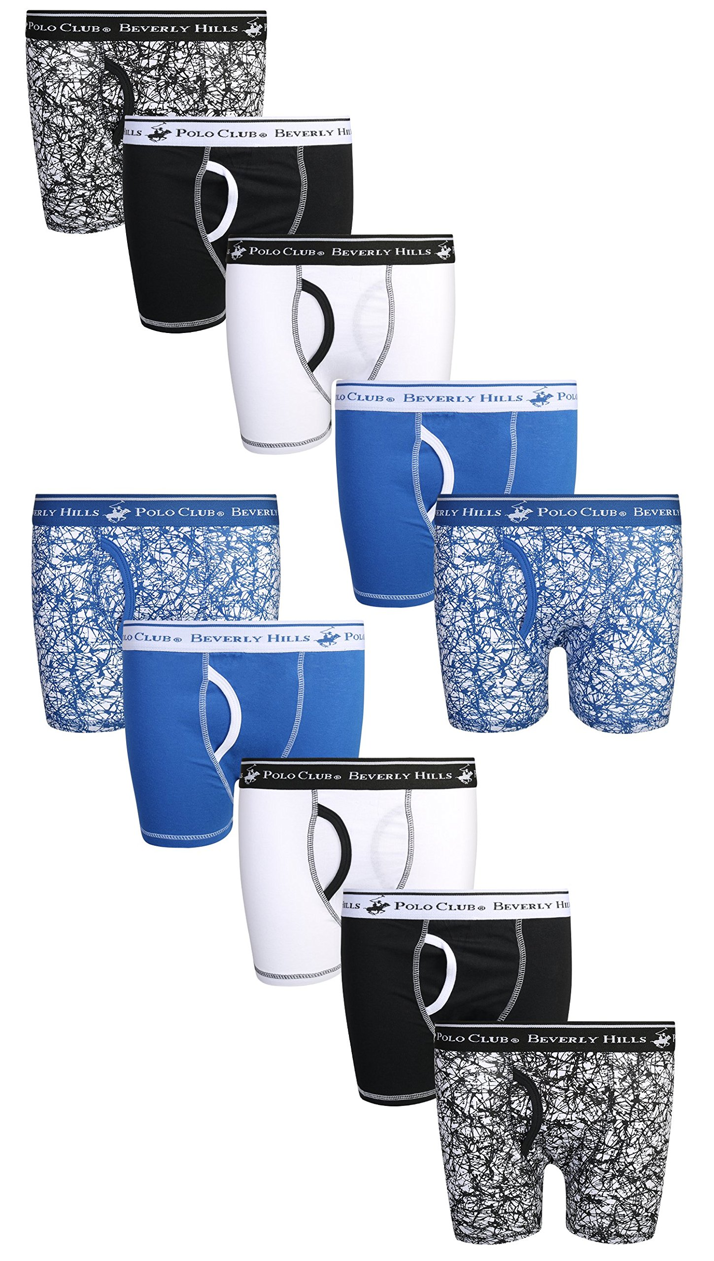 Beverly Hills Polo Club Boys' Solid Boxer Briefs (Pack of 10), Splatter, Large/12-14'