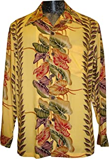 product image for Paradise Found Kamehameha Mens Anthurium Panel Long Sleeve Shirt Yellow Gold M