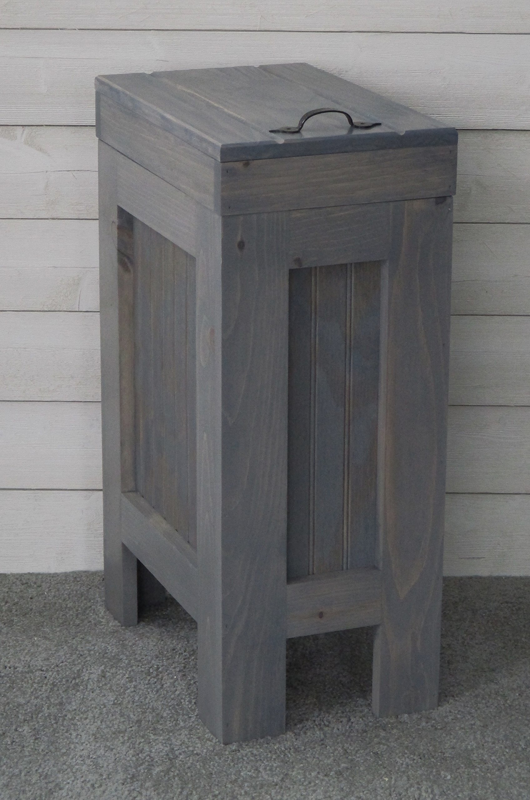 Rustic Wood Trash Bin, Kitchen Trash Can, Wood Trash Can,Trash Cabinet, Dog food storage, 13 Gallon , Recycle Bin, Gray Stain - Metal Handle - Handmade in USA By Chris- BuffaloWoodshop