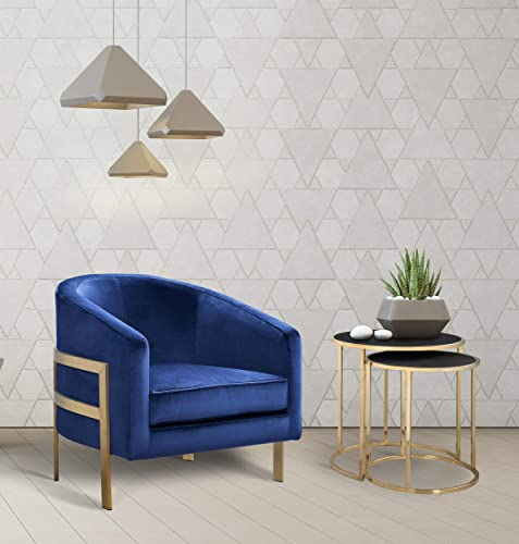 Iconic Home Monte Accent Club Chair Sleek Elegant Velvet Plush Cushion Seat Brushed Brass Finished Stainless Steel Frame Modern Contemporary