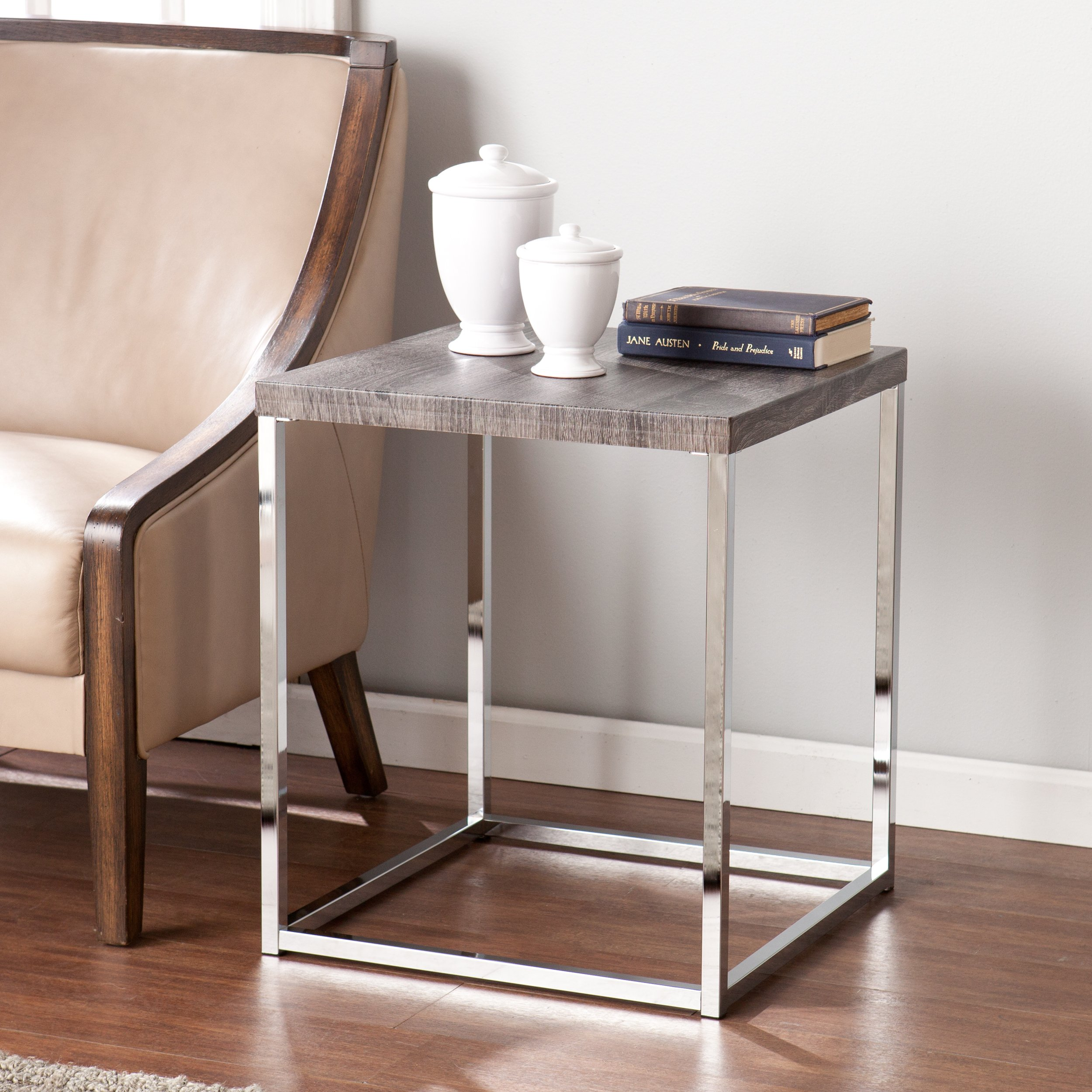 Glynn Side End Table - Sun Bleached Weathered Gray Top - Chrome Frame Base by Southern Enterprises