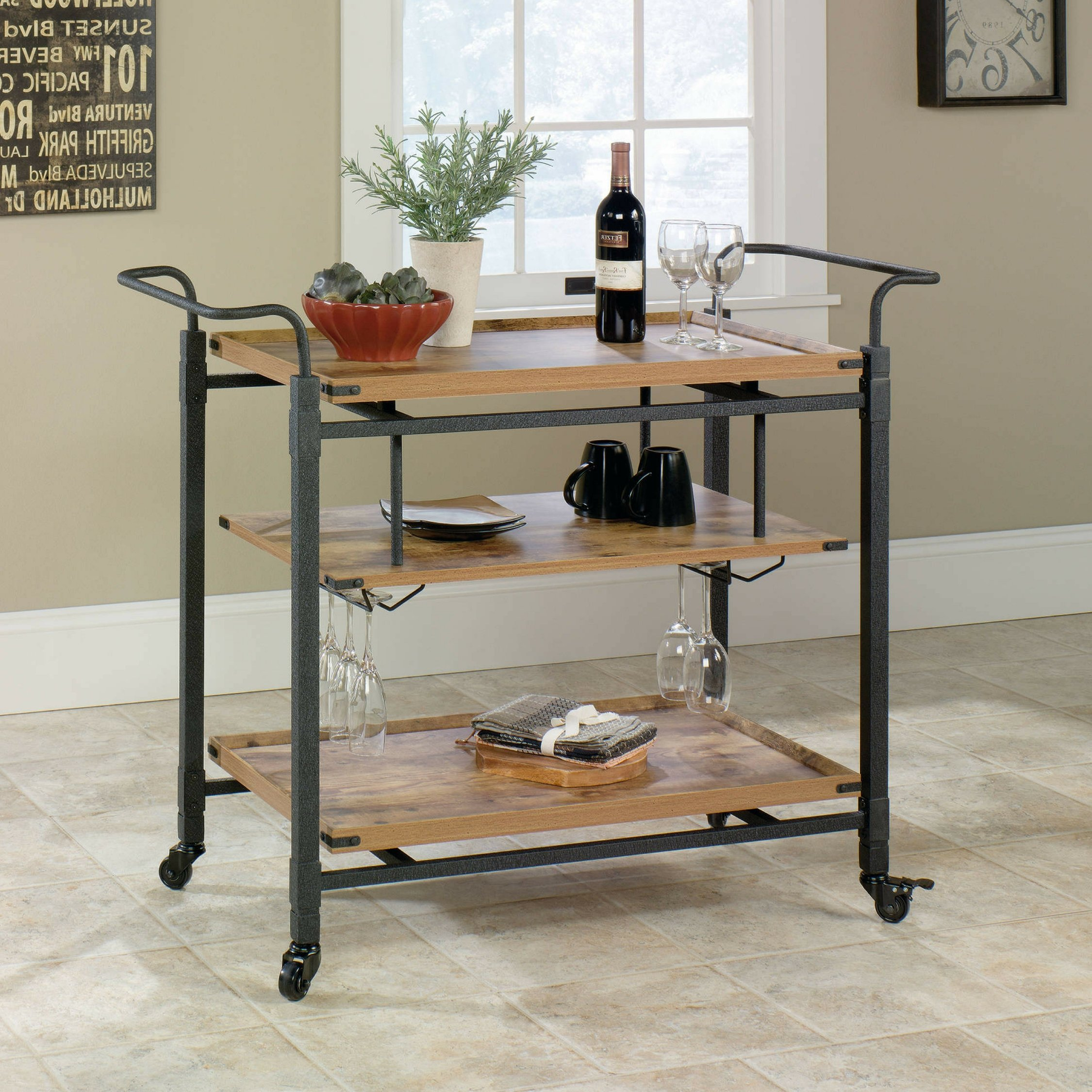 Antiqued Black Rustic Country Bar 3 shelves Cart, Pine Finish