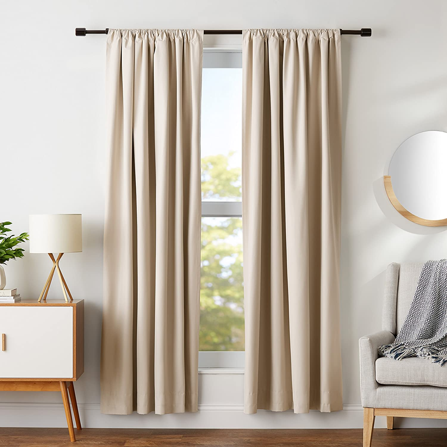AmazonBasics Room Darkening Thermal Insulating Blackout Curtain Set with Tie Backs - 52 x 84 Inches, Beige (2 Panels)
