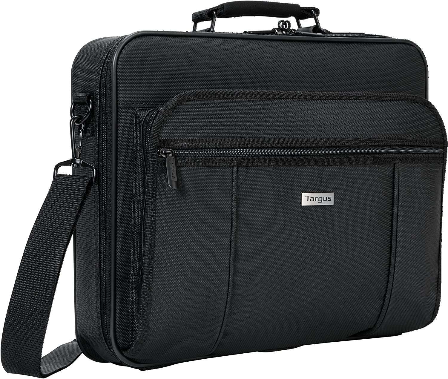 Targus Premiere Laptop Case, Protective Business Travel Design with Front Pocket, Removable Shoulder Strap, File Section, Trolley Strap, Padded Sleeve fits 15.4-Inch Laptop, Black (TVR300)