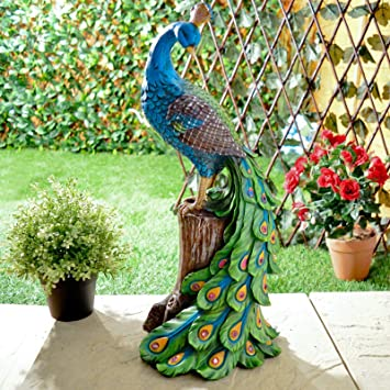 Perfect Solar Peacock Outdoor Garden Ornament Decoration Resin Red Glowing Night  Lights