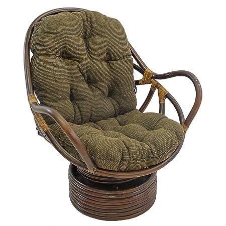 Blazing Needles Patterned Jacquard Chenille Swivel Rocker Chair Cushion, 48 x 24 , Bordeaux