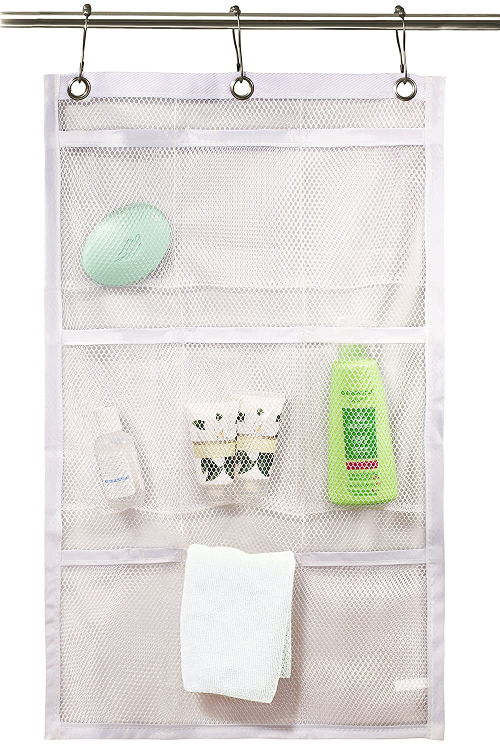 Shower Curtain Bathroom Organizer -9 Pockets- Perfect for Organizing Your Home Bath. Organize Your Toiletries and kid's Toys in Nine Durable Deep Mesh Pockets. Hang on Existing Shower Curtain Rings. Handy Laundry 5098