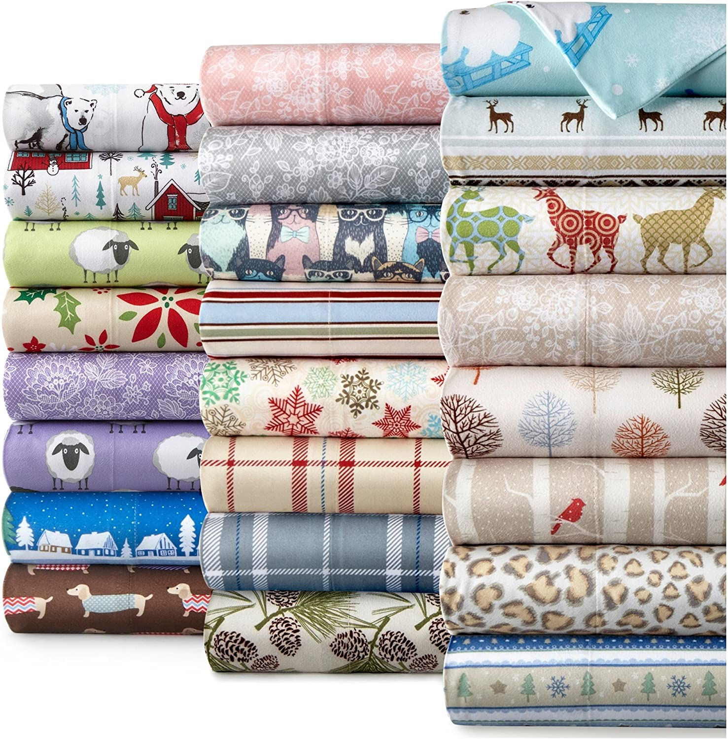 Shavel Home Products Micro Flannel Printed Sheet Set, King, Polar Bears