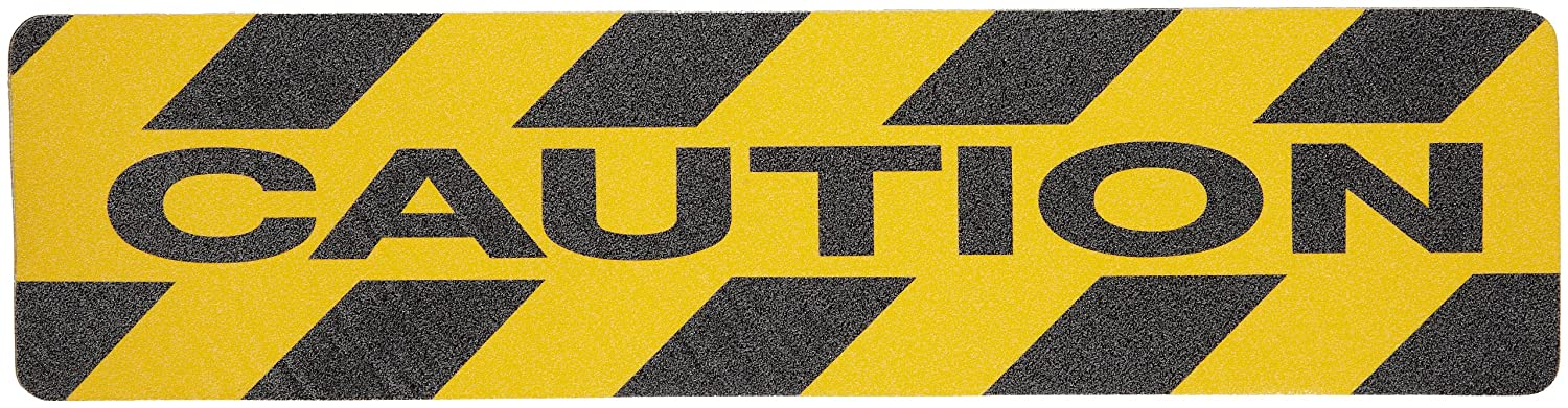 Brady 6' Height, 24' Width, B-916 Grit-Coated Polyester Tape, Black on Yellow Color Anti-Skid Tape Hazard Marking Diecut Cleats, Legend'Caution' (Pack of 24) 24 Width LegendCaution (Pack of 24) 78160