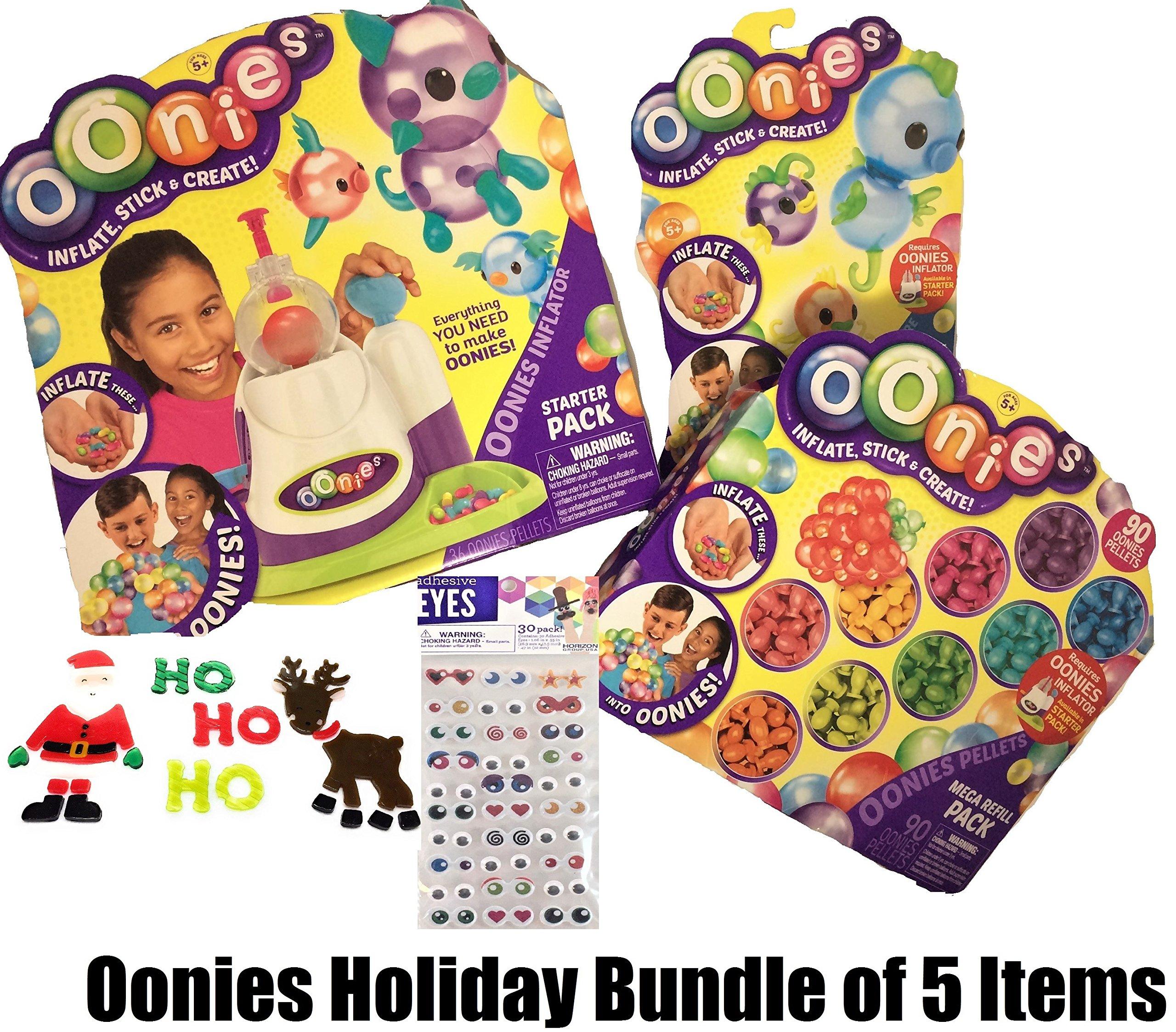 Oonies 5 Piece Toy Bundle Includes Starter Pack with Inflator Tool, Oonies MEGA Refill Multicolor Pack, Oonies Additional Theme Pack, 30 Puffy Sticker Adhesive Eyes & Santa Clings
