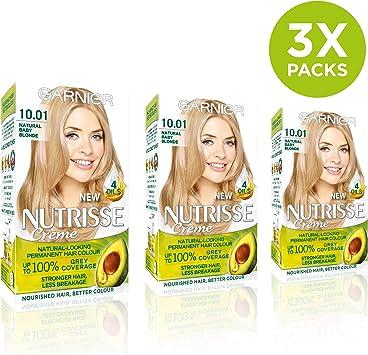 Garnier Nutrisse 10.01 tinte permanente para cabello rubio claro, paquete de 3