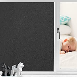 Coavas Window Films Non Adhesive Frosted Home Office Films Window Stickers Self Static Cling Vinyl Glass Film Window Decorations for Bathroom Office Meeting Room, Black Frosted 35.4 x 78.7 Inch