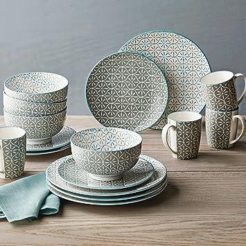 Durable Crisp Grey Hand Crafted Style Porcelain Dinnerware Set 16Pcs & Amazon.com | Durable Crisp Grey Hand Crafted Style Porcelain ...