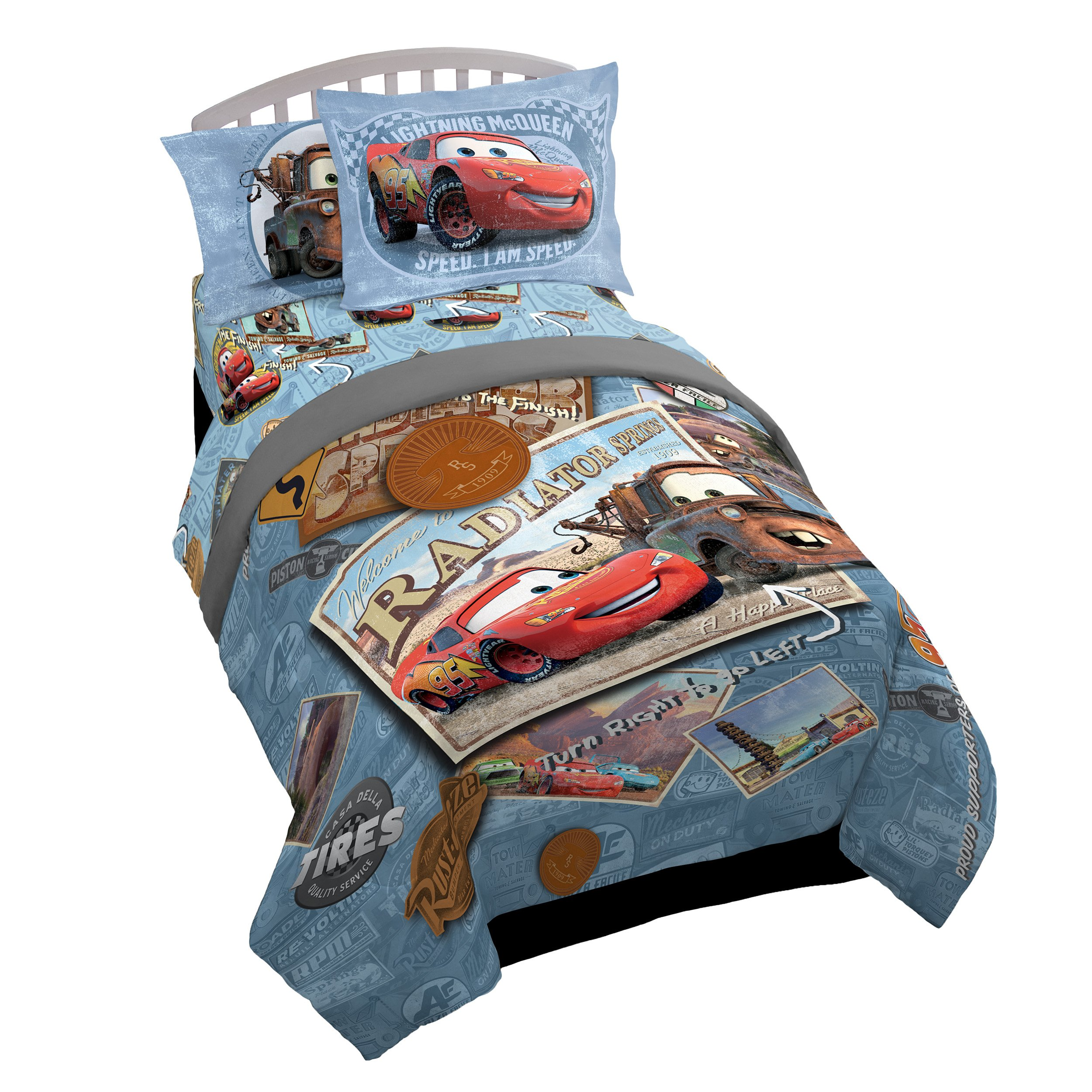Disney/Pixar Cars Tune Up Blue/Gray 7 Piece Full Bed In A Bag with Lightning Mcqueen & Mater in Radiator Springs (Official Disney/Pixar Product)