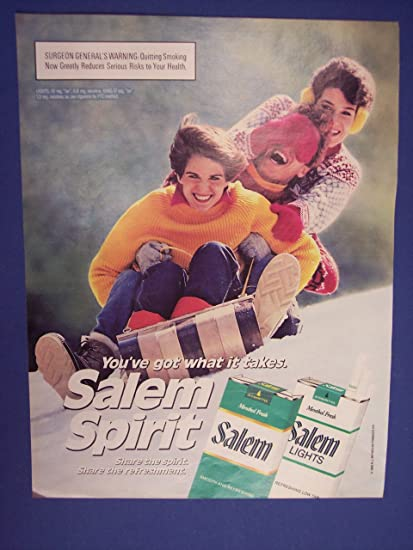 Amazon com: Salem Cigarattes, bob sliding 80's Print Ad
