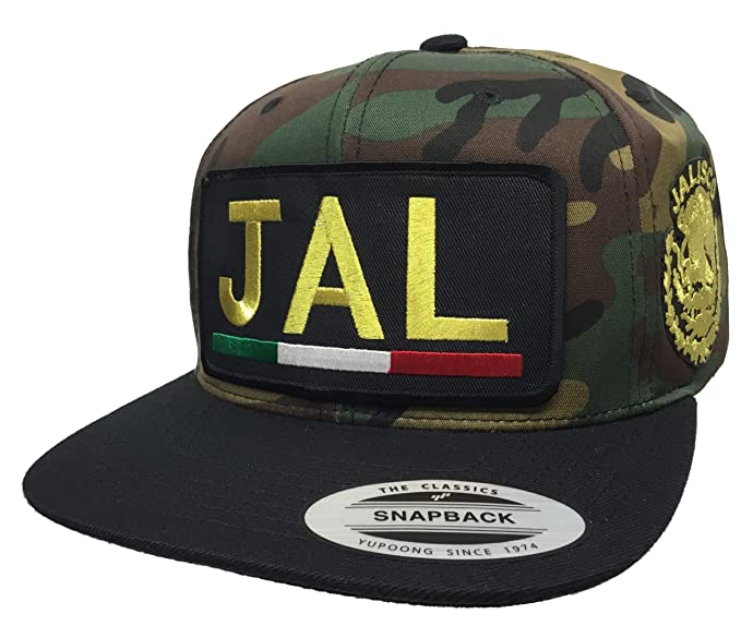 Jalisco  Jal  Logo Federal 2 Logos All Gold Hat Camo Black Snapback ... 46cb4c61f26