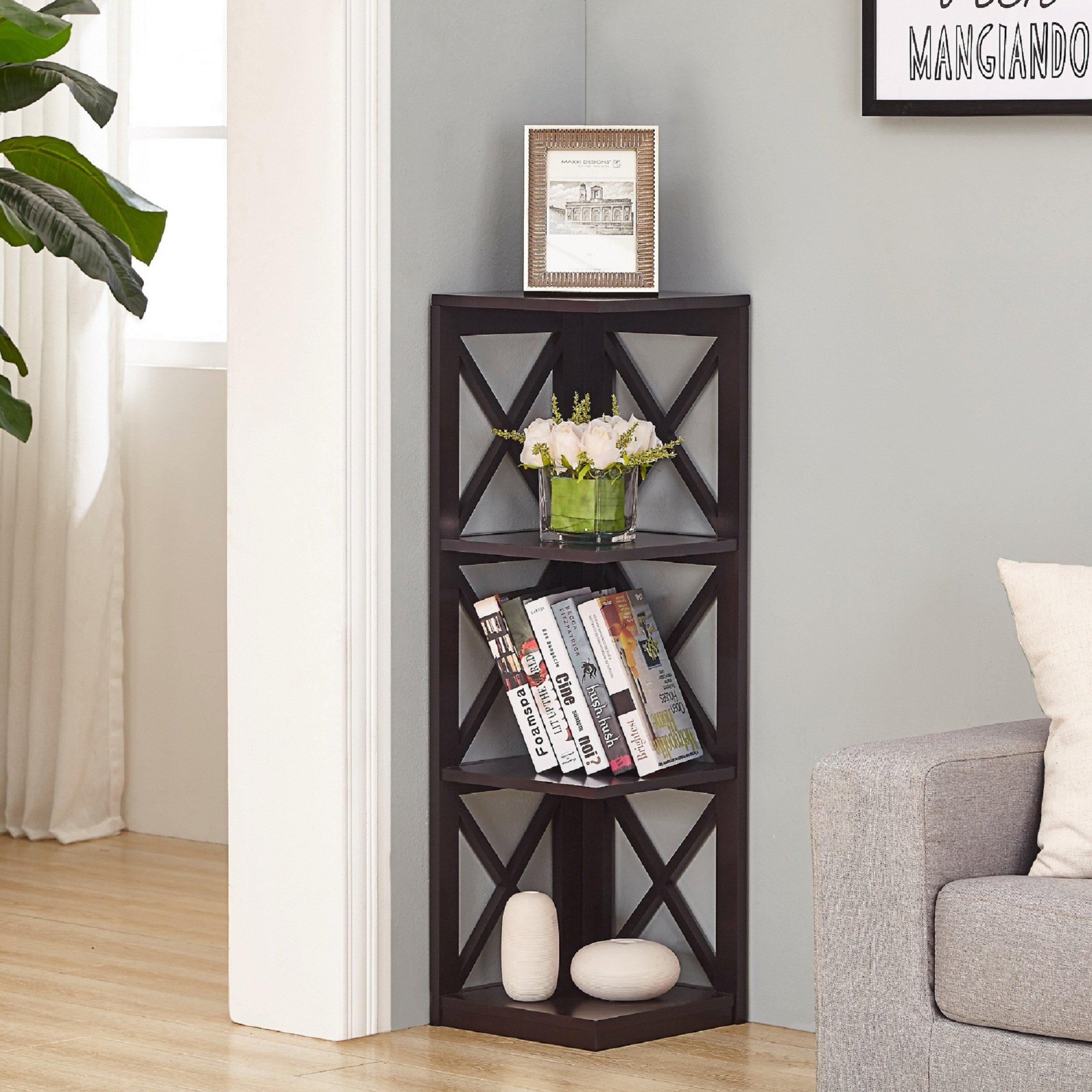 Espresso Finish 4-tier Corner Bookshelf with X-Design