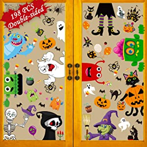 198PCS Halloween Decorations Window Clings - Hallowmas Ghost Spider Bat Pumpkin Monster Peeking Decals Party Supplies Decor