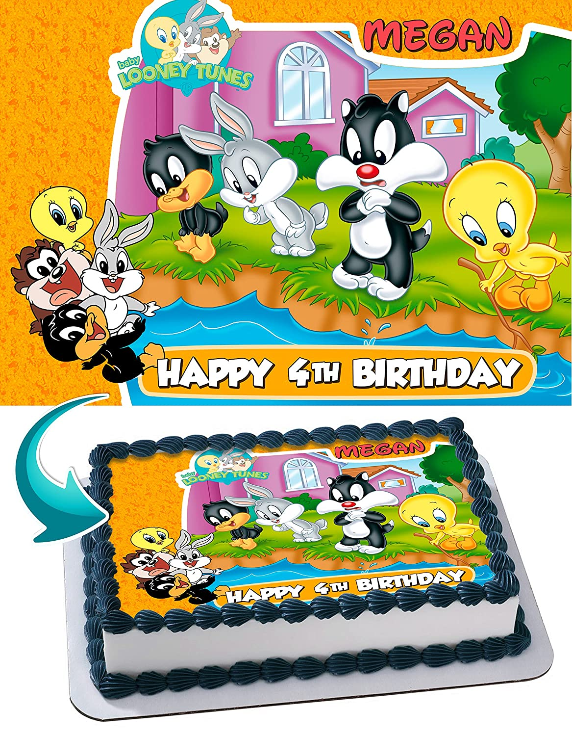 Baby Looney Tunes Edible Cake Topper Personalized Birthday 1 4 Sheet